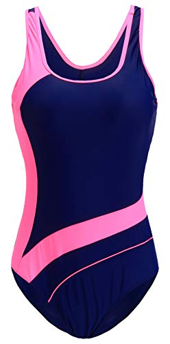 EBMORE Womens One Piece Swimsuit Bathing Suit Chlorine Resistant Athletic Sport Training Exercise (US (16-18), Pink & (Athletic Womens Swimsuit)