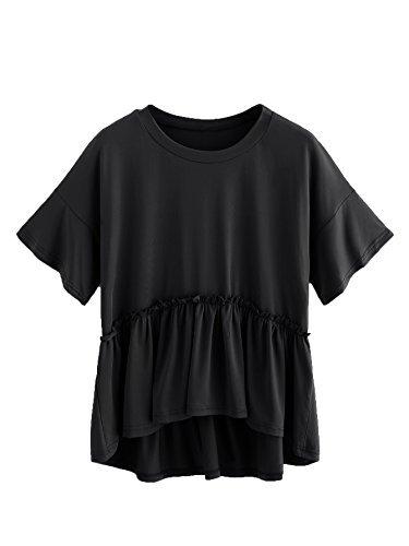Romwe Women s Loose Ruffle Hem Short Sleeve High Low Peplum Blouse Top  Black X-Small 27c8e0cf94