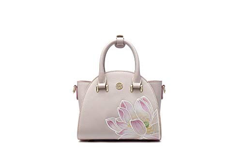 Style Women's Fashion Embroidery Shoulder Inclined Handbag Lotus Jade Small Female Bag Pmsix Wing Chinese Pink Type Zdqaqw