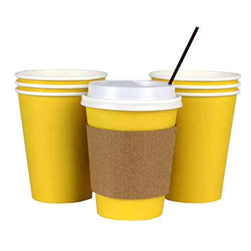 100 Pack - 12 Oz Disposable Hot Paper Coffee Cups, Lids, Sleeves, Stirring Straws To Go