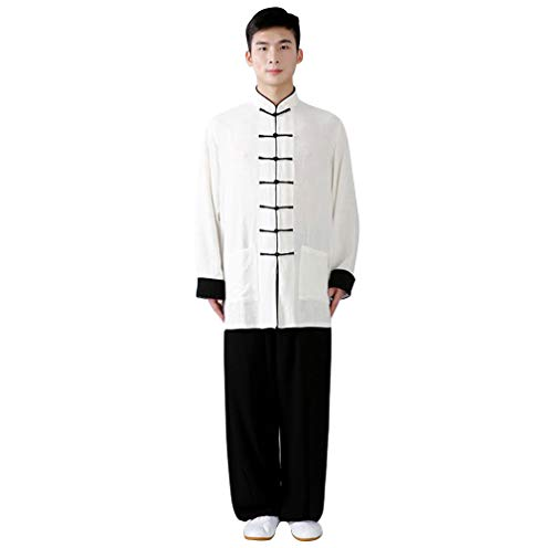 KIKIGOAL Unisex Double Colors Chinese Traditional Tai Chi Uniforms Kung Fu Clothing Tang Suit Martial Arts Wear (M, white - White Kung Button Uniform Fu
