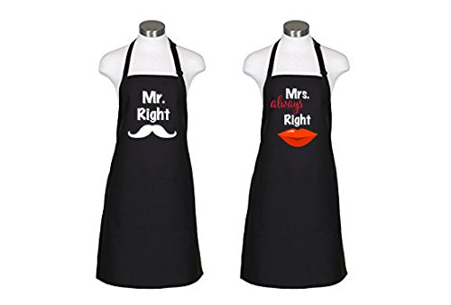 McKindly Mr. Right & Mrs. Always Right Aprons Wedding Engagement Gift for Couples - Bridal Shower from