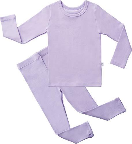 AVAUMA Baby Boys Girls Solid Pring Pj Set Kids Pajamas Long Sleeve Cotton (Light Purple-1 JM) -