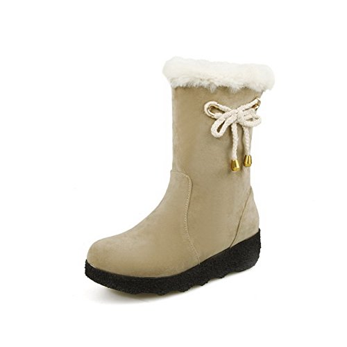 Toe Heels Kitten Beige Solid Frosted Allhqfashion Boots Women's Closed Round Pull on 5a6q5YEw