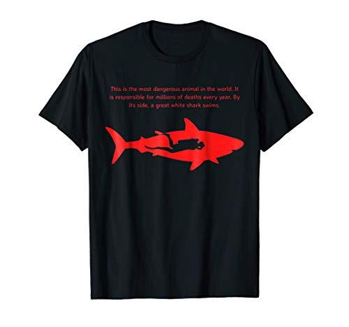 Most Dangerous Sharks - Most Dangerous Scuba Diver T Shirt Great White Shark Tee