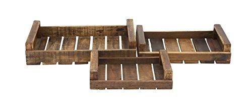 Benzara Rural and Rustic Wood Tray, Set of 3 by Benzara