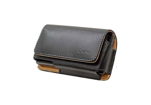 Samsung Sidekick 4G Executive Horizontal Style Case Made In Genuine Leather With Magnetic Closure And Removable Spring Clip Black With Car Charger