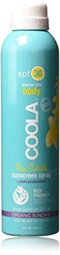 COOLA Organic Suncare, Eco-Lux Size, Pina Colada Body Sunscreen Spray, SPF 30, 8 fl. Ounce