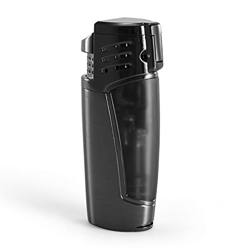 Cigar Lighter, Triple 3 Jet Flame Refillable Butane Torch Lighter with Punch by CigarMaster (Image #2)