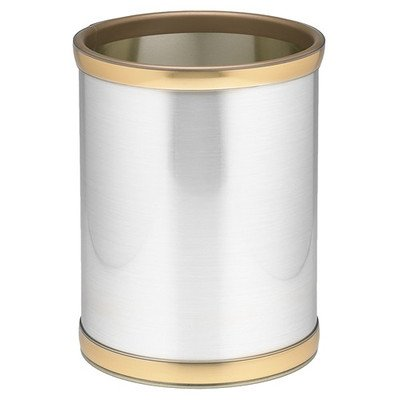 Mylar 10 in. Round Wastebasket in Brushed Chrome and (Chrome Round Wastebasket)