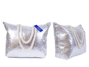 Estelle's Wardrobe  Lorenz Light Silver, Borsa da spiaggia  Donna argento Silver Large