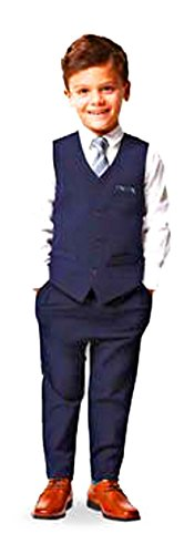 (Andy & Evan Boys Formal 4-Piece Suit with Vest, Tie, Shirt and Pants (7Y))
