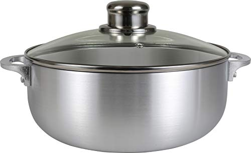 Polished Aluminum Lids - Kitchen Sense Polished Aluminum Caldero Dutch Oven Cauldron with Glass Lid, and Stainless Steel Knobs