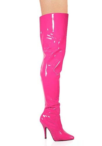 Pleaser Women's Seduce-3010 Thigh High Boot,Hot Pink Patent,7 M (Patent Knee Boot)
