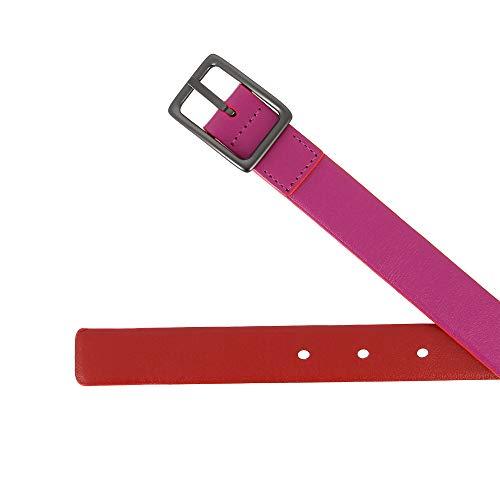 Vera Made 95 Italy Cm In Metallo Bicolore Fucsia Dudu 24mm Fibbia Pelle H Da Con Cintura Donna Accorciabile ZxaIY