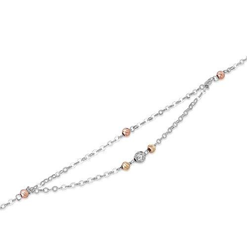 14ct 5853couleurs Jaune or rose et blanc Double chaîne Diamant Perles Cheville (23.5cm) Femme Bijoux Cadeau