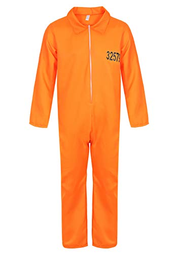 (frawirshau Prisoner Costume Orange Prison Jumpsuit Adult Costumes for Men Jail Criminal Outfit)