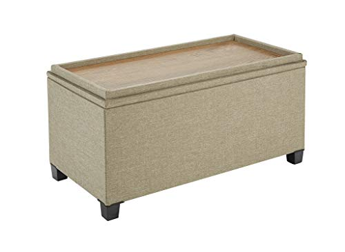 Fresh Home Elements 250089-026 Tray Coffee Table Ottoman with Storage Tan