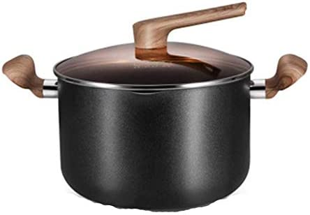 MHTCJ ステンレスアルミ総テフロン加工の食器洗い機オーブン安全Stockpot調理器具、ブラック