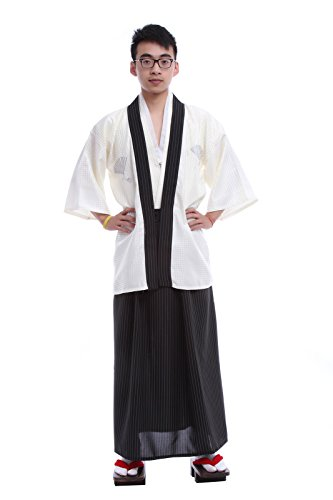 Japanese Costumes For Male (Lemail wig Japanese Traditional Formal Mens Cardigan Samurai Kimonos CC44A-F)
