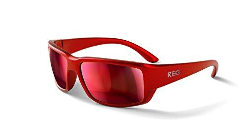 REKS Unbreakable WRAP AROUND Sunglasses (NEW 2018 Model) (Red Metallic, Black-Red Mirror (Metallic Wrap Around Sunglasses)