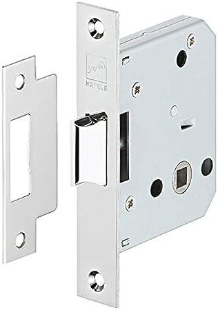 Gedotec - Cerradura de caída con pestillo para puertas de habitaciones, de acero inoxidable, para insertar, mandril: 55 mm, 1 pieza, cerradura con chapa de cierre