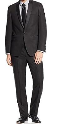 Calvin Klein Mens 40X34 Grid Shawl Collar 1 Button Suit Black 40