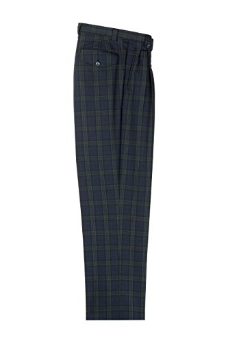Windowpane Plaid Pant (Navy Blue with Green Windowpane Wide Leg Pure Wool Dress Pants by Tiglio Luxe)