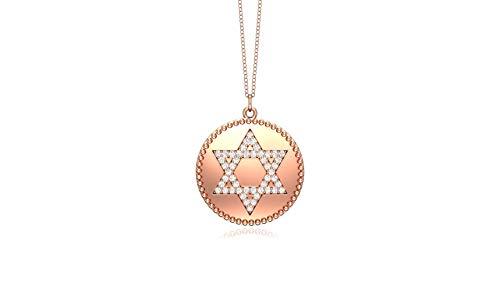 Noray Designs 14K Rose Gold Diamond (0.24 Ct, G-H Color, SI2-I1 Clarity) David's Star Disc Pendant, 18