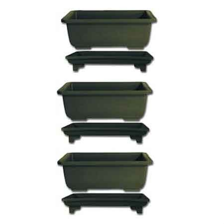 8 inch Bonsai Tree Pots with Trays - 3 pack
