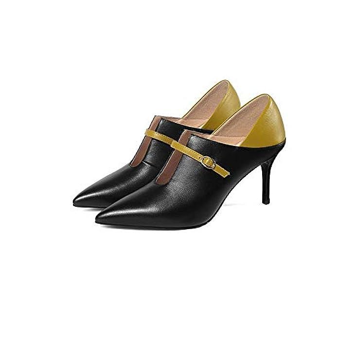 Shirloy Deep Mouth Ladies Single Shoes Interno E Esterno L'intera Pelle Alta Qualità In Scamosciata Cinghiale Con Punta Colore Abbinato Fibbia