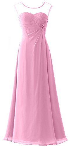 MACloth Women Cap Sleeves Chiffon Long Prom Dress Wedding Party Formal Gown Rosa