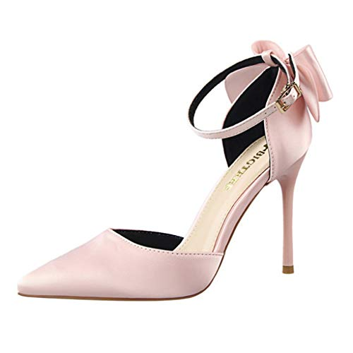 OVERDOES Women Silk Butterfly Knot High Heel Shoes Satin Hollow Shallow Pointed Toe Shoes Pink