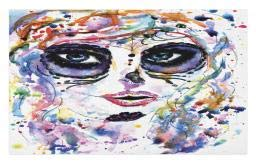 Ambesonne Sugar Skull Doormat, Halloween Girl with Sugar Skull Makeup Watercolor Painting Style Creepy Look, Decorative Polyester Floor Mat with Non-Skid Backing, 30 W X 18 L Inches, -
