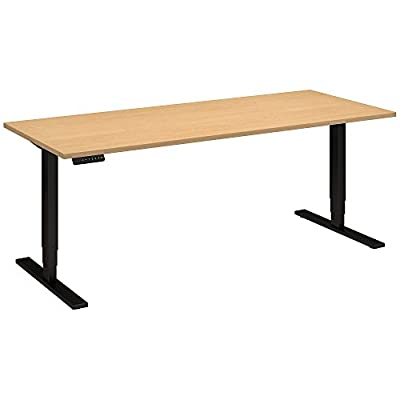 Move 80 Series by Bush Business Furniture 72W x 30D Height Adjustable Standing Desk in Natural Maple with Black Base