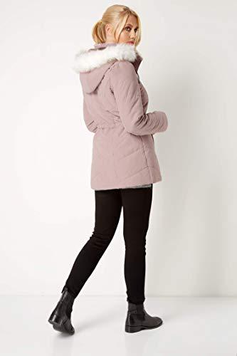 Rose Taille Roman Originals Fur Coat Faux 48 Hood Microfibre xqRYng0R4