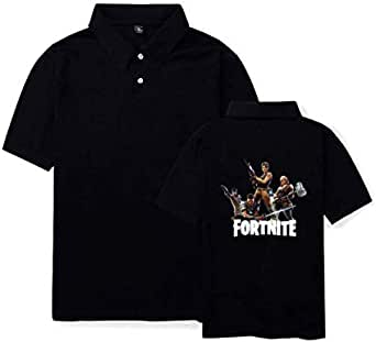 Personality casual Fortnite games men and women summer cotton T-shirt short sleeve high neck size L,whit