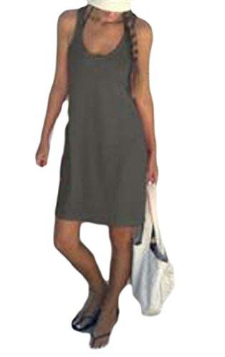 Solido Scoopneck Pianura Casuale Cromoncent Prendisole Womens Grigio Sottile Vestito xBOwq0OIWZ