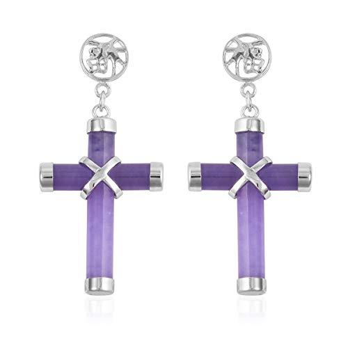 Cross Dangle Drop Earrings 925 Sterling Silver Dyed Color Purple Jade Gift Jewelry for Women