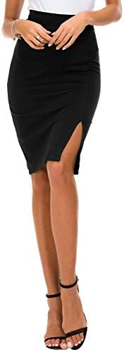 EXCHIC Women's Pencil Skirt Bodycon Business Skirt Side Slit Hem