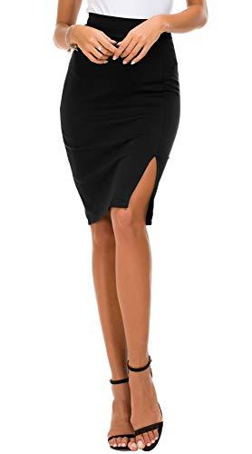 EXCHIC Women's Pencil Skirt Bodycon Business Skirt Side Slit Hem (L, Black)