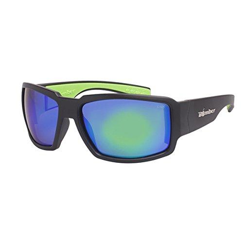Bomber Eyewear BG103GMGF Non-Polarized Boogie Bomb Safety Glasses Matte Black Frame Green Mirror - Sunglasses Bomber