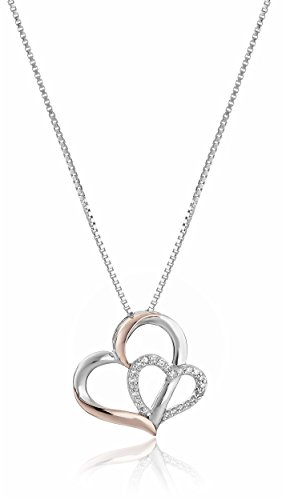 Sterling Silver and 14k Rose Gold Diamond Double-Heart Pendant Necklace (1/10 cttw, I-J Color, I2-I3 Clarity), 18""
