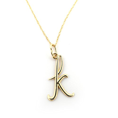 Initial 14k Yellow Gold Pendant - Beauniq 14k Yellow Gold Cursive Lowercase Initial Pendant Necklace, K - pendant only