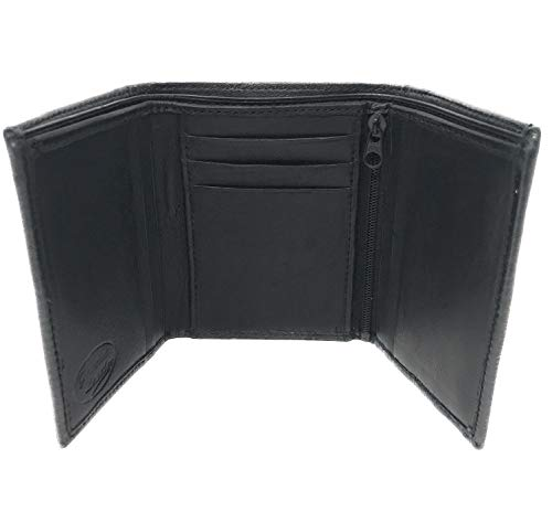Elton Men's Genuine Lambskin Smooth Leather Tri-fold Wallet with 2 ID Windows and 9 Credit Card ()