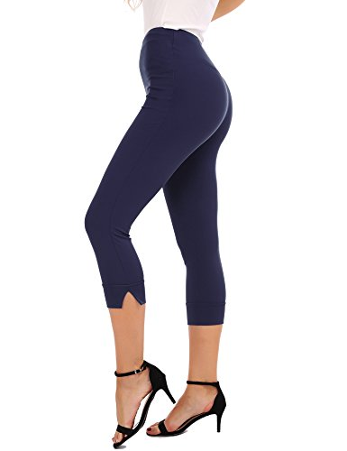 FISOUL Womens Casual Stretch Pants Comfy Slim Fit Cropped Skinny Trousers Pull On Capri Pants Navy Blue (Womens Cropped Trousers)