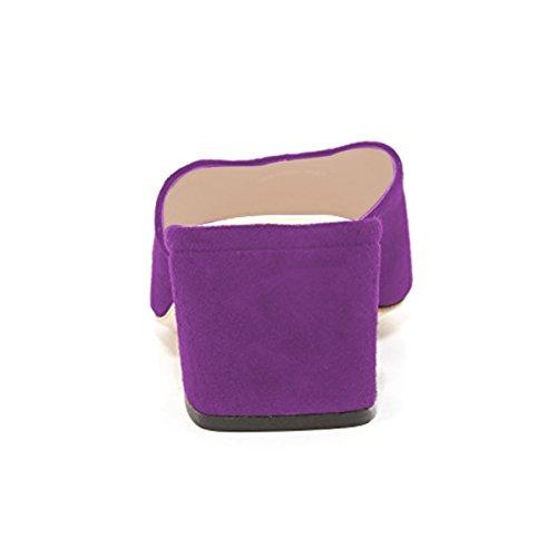 Shoes Women Slip Purple Mules Low Slide Casual on YDN Heels Clogs Toe Round Block Pumps qwCFdO