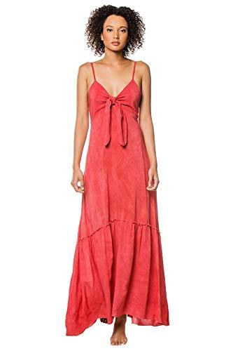 Elan International Women's Knot-Tie Maxi Dress Swim Cover Up Washed Coral S (Elan Swimwear)