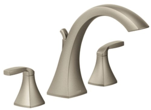 Moen T693BN Voss Two-Handle High-Arc Roman Tub Faucet without Valve, Brushed Nickel - Deck Mount Roman Tub Faucet