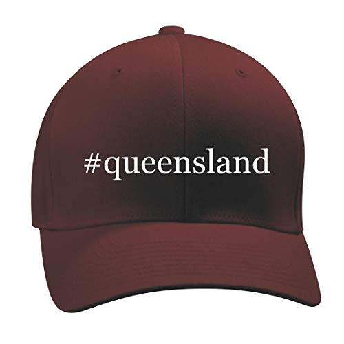 #Queensland - A Nice Hashtag Men's Adult Baseball Hat Cap, Maroon, Small/Medium